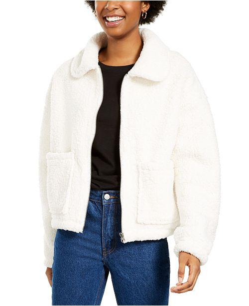 Pink Rose Juniors' Zip-Front Sherpa Jacket