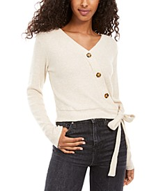 Juniors' Plush Surplice Ribbed Top