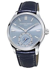 Frederique Constant Men's Swiss Horological Blue Leather Strap Hybrid Smart Watch 42mm