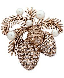 Gold-Tone Pavé & Imitation Pearl Pine Cone Pin
