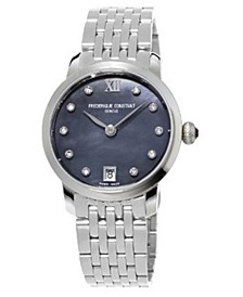 Women's Swiss Slimline Diamond (1/20 ct. t.w.) Stainless Steel Bracelet Watch 30mm