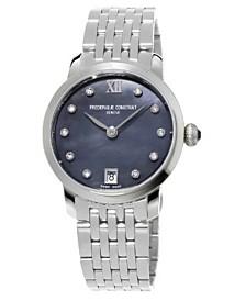 Frederique Constant Women's Swiss Slimline Diamond (1/20 ct. t.w.) Stainless Steel Bracelet Watch 30mm