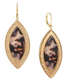 Gold-Tone Tortoise Look Drop Earrings