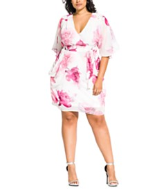 City Chic Trendy Plus Size Bella Rosa Printed Faux-Wrap Dress