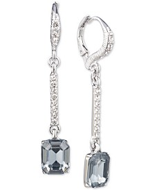 Givenchy Silver-Tone Pavé & Stone Linear Drop Earrings