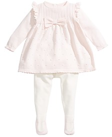 First Impressions Baby Girls 2-Pc. Bow Sweater & Tights Set, Created For Macy's