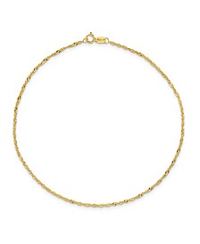 Singapore Chain Anklet in 14k Yellow Gold