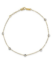 Circle Disc Anklet in 14k White and Yellow Gold