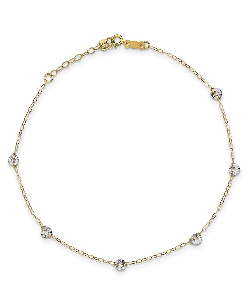 Macy's Circle Disc Anklet in 14k White and Yellow Gold