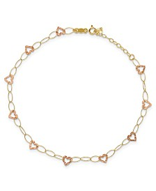 "Heart Anklet With Adjustable 1"" extension in 14k Yellow and Rose Gold"