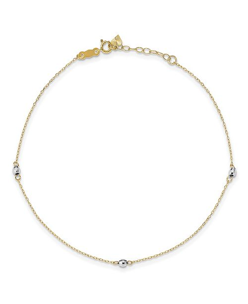 Macy's Reflective Beaded (3 mm) Anklet in 14k Yellow and White Gold