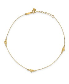 Triple Puffed Heart Anklet in 14k Yellow Gold