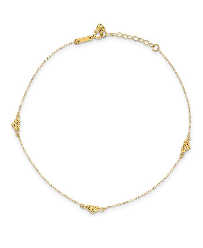 Macy's - Triple Puffed Heart Anklet in 14k Yellow Gold