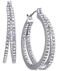 """Small Crystal In & Out Double Hoop Earrings 1"""""""