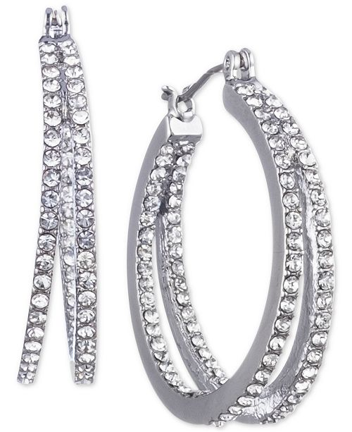"""Givenchy Small Crystal In & Out Double Hoop Earrings 1"""""""