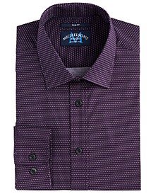 of London Men's Slim-Fit Performance Stretch Geo-Print Dress Shirt