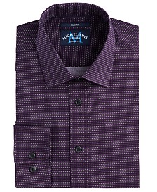 Michelsons of London Men's Slim-Fit Performance Stretch Geo-Print Dress Shirt