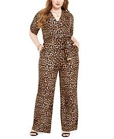 Plus Size Animal-Print Jumpsuit