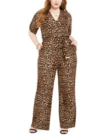 Michael Michael Kors Plus Size Animal-Print Jumpsuit