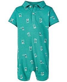 First Impressions Baby Boys Dog-Print Polo Sunsuit, Created for Macy's