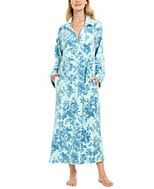 Women's Floral-Print Fleece Long Zipper Robe