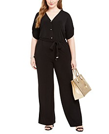 Plus Size Tie-Waist Pull-On Jumpsuit