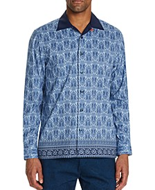 Men's Slim-Fit Performance Stretch Paisley Long Sleeve Camp Shirt