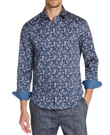 Tallia Men's Slim-Fit Performance Stretch Paisley Long Sleeve Shirt