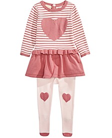 Baby Girls 2-Pc. Heart Peplum Sweater & Tights Set, Created For Macy's