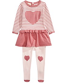 First Impressions Baby Girls 2-Pc. Heart Peplum Sweater & Tights Set, Created For Macy's