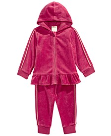 Baby Girls 2-Pc. Peplum-Hem Hoodie & Jogger Pants Set, Created For Macy's