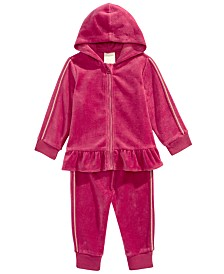 First Impressions Baby Girls 2-Pc. Peplum-Hem Hoodie & Jogger Pants Set, Created For Macy's