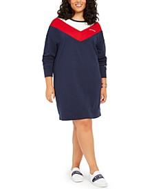Plus Size Colorblocked Sweatshirt Dress