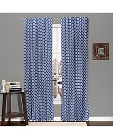 "42"" x 84"" Navy Geo Print Blackout Curtain Set"