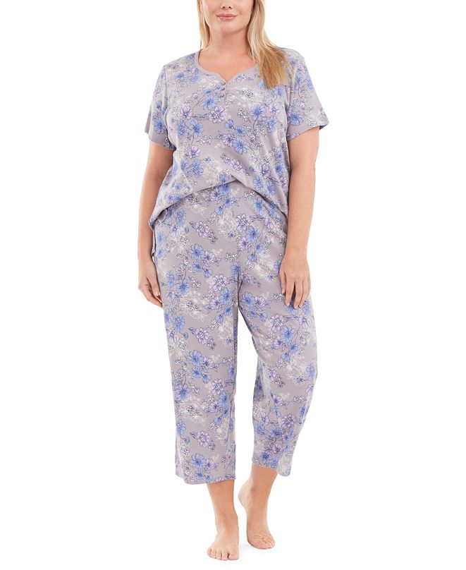 Charter Club Plus Size Capri Cotton Pajama Set, Created for Macy's