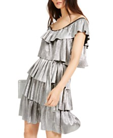 Michael Michael Kors Metallic Tiered Off-The-Shoulder Dress
