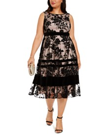 Taylor Plus Size Velvet-Flocked Midi Dress