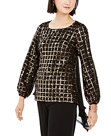 Sequined Grid & Chiffon Blouse, Created For Macy's