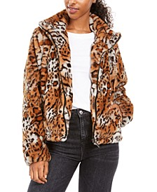 Juniors' Faux Fur Animal Print Jacket