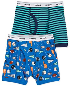 Little & Big Boys 2-Pk. Sports-Print Cotton Boxers