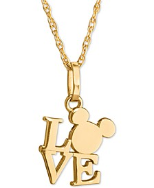 "Children's Mickey Love 15"" Pendant Necklace in 14k Gold"