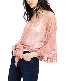 House of Polly Juniors' Lace Tie-Waist Blouse