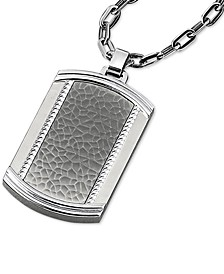 """Men's Textured Dog Tag 22"""" Pendant Necklace in Stainless Steel"""