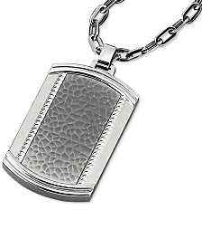 "Men's Textured Dog Tag 22"" Pendant Necklace in Stainless Steel"