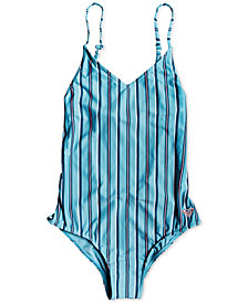 Roxy Big Girls 1-Pc. Surf My Mind Striped Swimsuit