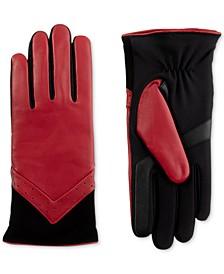 isotoner Women's SleekHeat® Leather smarTouch® Gloves with Fleece Lining