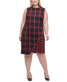 Plus Size Plaid Asymmetrical Sweater Dress