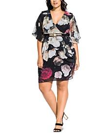 Trendy Plus Size Floral-Print Belted Faux-Wrap Dress