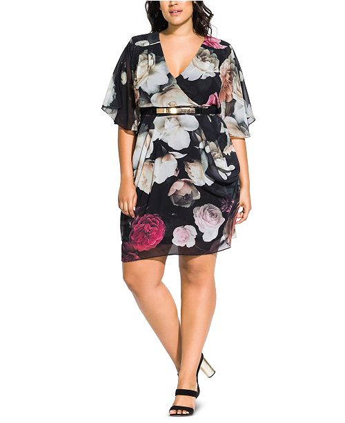 City Chic Trendy Plus Size Floral-Print Belted Faux-Wrap Dress