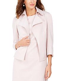 Anne Klein Ridgecrest Wing-Collar 3/4-Sleeve Blazer